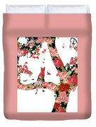 Floral Minimalist Style Cat, Tree And Birds Duvet Cover