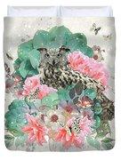 Floral Owl Duvet Cover