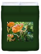 Floral Tiger Lily Flower Art Print Orange Lilies Baslee Troutman Duvet Cover