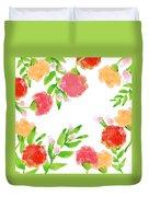 Floral Watercolor Border  Duvet Cover