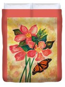 Floral With Butterfly Duvet Cover