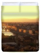 Florence And The Ponte Vecchio Dusk, Tuscany, Italy Duvet Cover