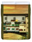 Florence - Boats Under The Ponte Vecchio Sunset - Untextured Duvet Cover