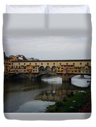 Florence Italy - An Autumn Day At Ponte Vecchio Duvet Cover