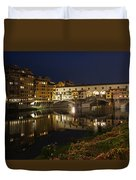 Florence Italy Night Magic - A Glamorous Evening At Ponte Vecchio Duvet Cover