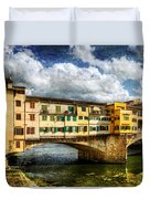 Florence -  Ponte Vecchio From The Northwestern Bank - Vintage Duvet Cover