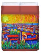 Florence Sunset 4 Modern Impressionist Abstract City Impasto Knife Oil Painting Ana Maria Edulescu Duvet Cover