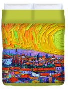 Florence Sunset 5 Modern Impressionist Abstract City Impasto Knife Oil Painting Ana Maria Edulescu Duvet Cover