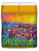 Florence Sunset 7 Modern Impressionist Abstract City Impasto Knife Oil Painting Ana Maria Edulescu Duvet Cover