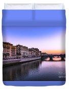 Florence Or Firenze, Ponte Santa Trinita Medieval Bridge Landmark On Arno River And A Boat, Sunset L Duvet Cover