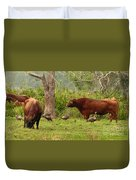 Florida Cracker Cows And Osceola Turkeys #2 Duvet Cover