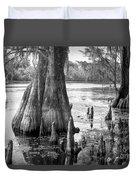 Florida Cypress, Hillsborough River, Fl In Black And White Duvet Cover