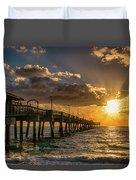 Florida Sunrise At Dania Beach Pier Duvet Cover