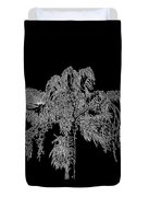 Florida Thatch Palm In Black And White Duvet Cover