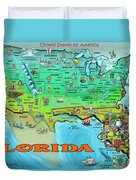 Florida Usa Cartoon Map Duvet Cover