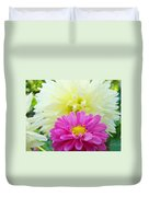 Flower Art Print White Pink Dahlia Floral Canvas Baslee Troutman Duvet Cover