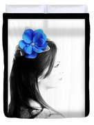 Flower Girl Blue Selective Colour Duvet Cover
