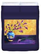 Flowers In Blue Vase Duvet Cover