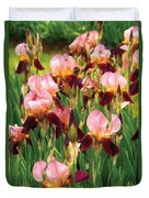 Flower - Iris - Gy Morrison Duvet Cover by Mike Savad