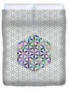 Flower Of Life Abalone Shell On Pearl Duvet Cover