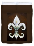 Flower Of New Orleans White Calla Lilly Duvet Cover by Judy Merrell