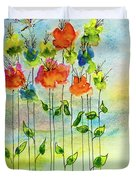 Flower Patch With Butterfly Duvet Cover