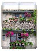 Flower Pots In Windows In Arles Duvet Cover by Carson Ganci