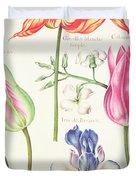Flower Studies  Tulips And Blue Iris  Duvet Cover