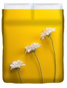 flower, white, three, online, Yellow Background, lateral, vertic Duvet Cover