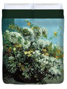 Flowering Branches And Flowers Duvet Cover