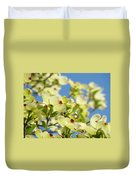 Flowering Dogwood Tree Art Print White Dogwood Flowers Blue Sky Art Duvet Cover