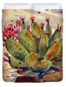 Flowering Opuntia Duvet Cover