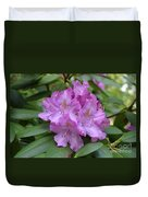Flowering Pink Rhododendron Blossoms On A Bush Duvet Cover