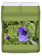 Flowering Purple Anemone Flower Blossom In A Garden Duvet Cover