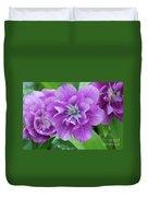 Flowering Purple Tulips With Raindrops From A Spring Rain Duvet Cover