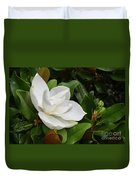 Flowering White Magnolia Blossom On A Magnolia Tree Duvet Cover