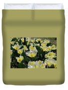 Flowering Yellow And White Tulips In A Spring Garden  Duvet Cover
