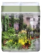Flowers Along The Pathway Duvet Cover