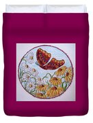 Flowers And A Butterfly Duvet Cover