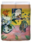 Flowers And A Japanese Print Duvet Cover by Paul Gauguin