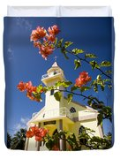 Flowers And Church On Takapoto Atoll Duvet Cover