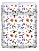 Flowers And Hummingbirds 1 Duvet Cover