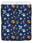 Flowers And Hummingbirds 2 Duvet Cover