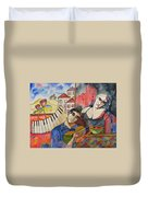 Flowers And Music Duvet Cover
