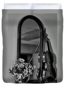 Flowers And Violin In Black And White Duvet Cover