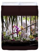 Flowers And Waterfall Duvet Cover