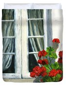 Flowers At The Window Duvet Cover
