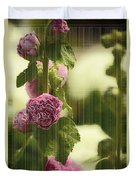 Flowers Behind The Screen Duvet Cover