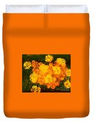 Flowers, Buttons And Ribbons -shades Of Orange/yellow  Duvet Cover