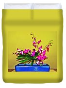 Flowers In A Blue Dish - Japanese House Duvet Cover
